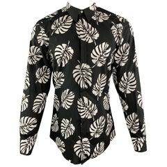DOLCE & GABBANA Size M Black & White Palm Leaf Print Cotton Shirt