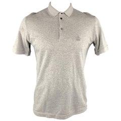 DOLCE & GABBANA Size M Gray Pique Buttoned Polo Shirt