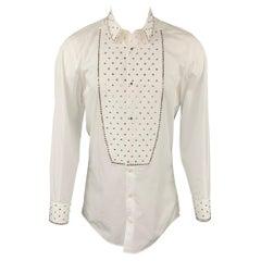 DOLCE & GABBANA Size M White Swarovski Applique Cotton Tuxedo Long Sleeve Shirt