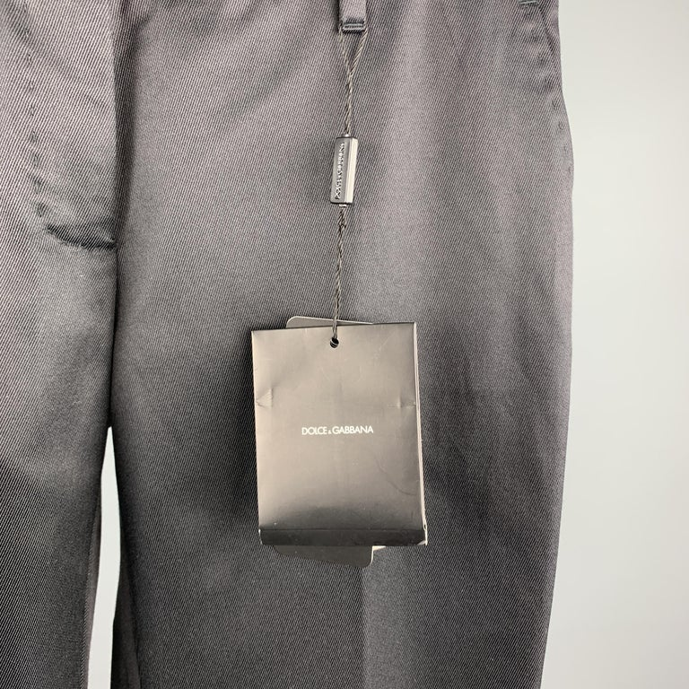 DOLCE & GABBANA Size S Black Cotton / Silk Dress Pants In New Condition For Sale In San Francisco, CA
