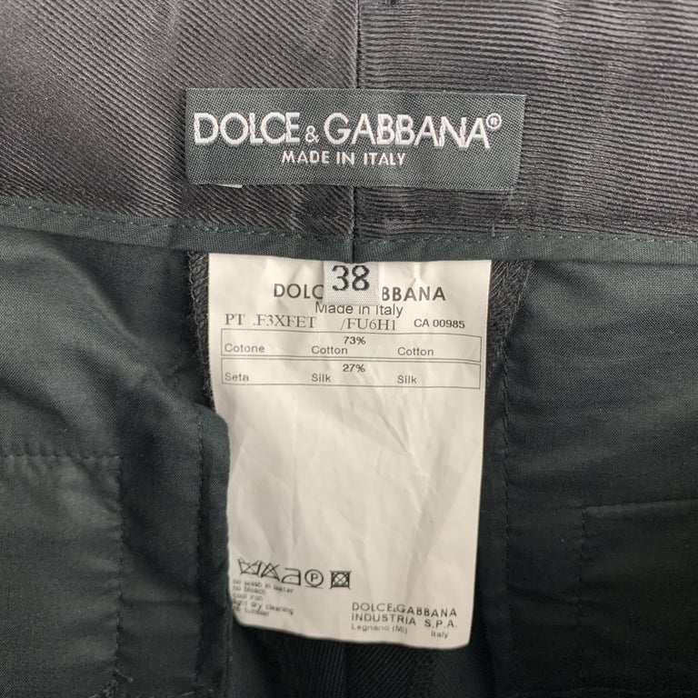 DOLCE & GABBANA Size S Black Cotton / Silk Dress Pants For Sale 1