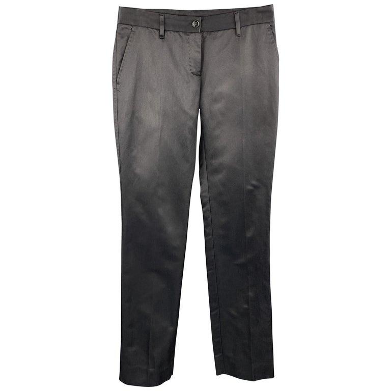 DOLCE & GABBANA Size S Black Cotton / Silk Dress Pants For Sale