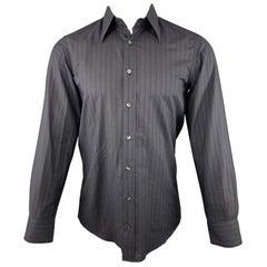 DOLCE & GABBANA Size S Black Stripe Cotton Button Up Long Sleeve Shirt
