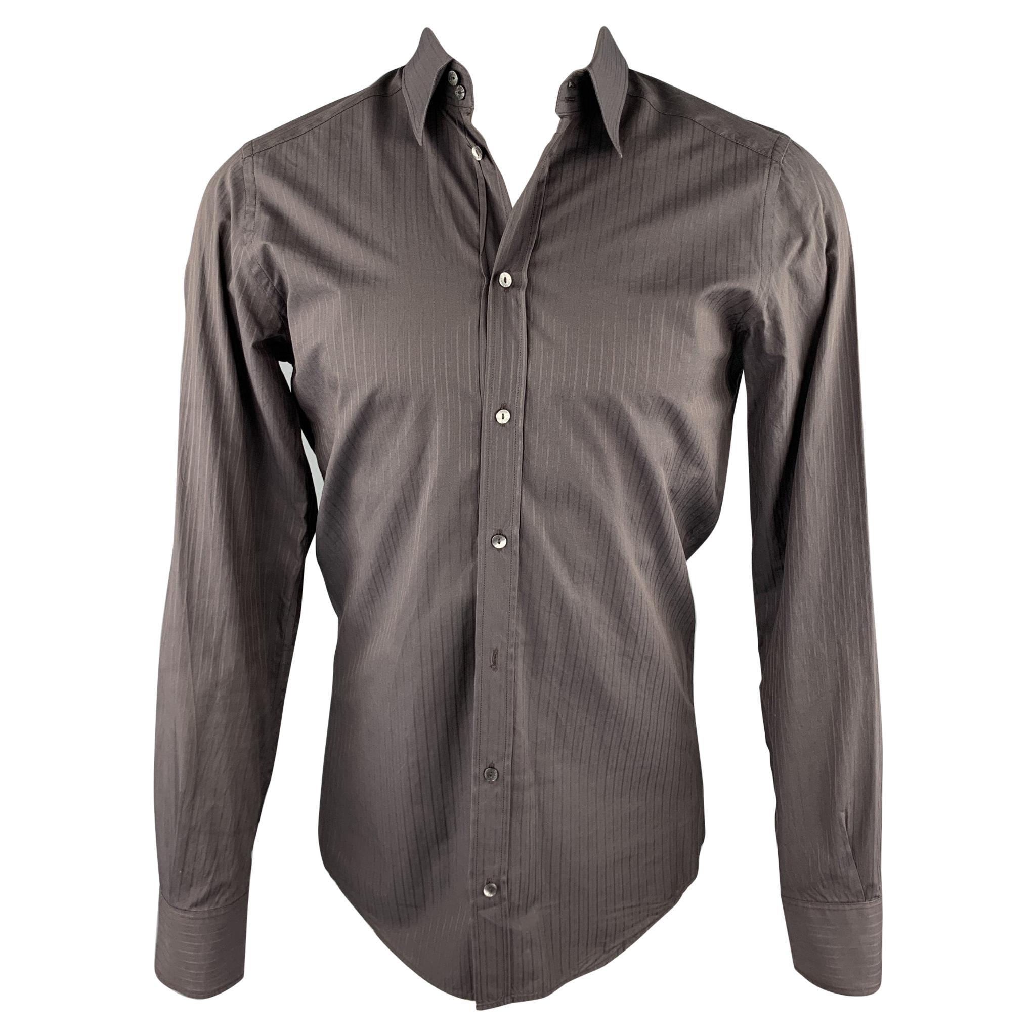 DOLCE & GABBANA Size S Brown Stripe Cotton Button Up Long Sleeve Shirt