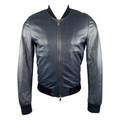 DOLCE & GABBANA Size S Navy Leather Bomber Jacket