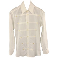 DOLCE & GABBANA Size S White Cotton Buttons Pointed Collar Long Sleeve Shirt