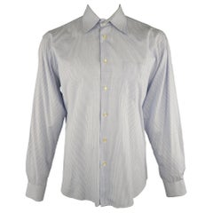 DOLCE & GABBANA Size XL Navy & White Window Pane Cotton Long Sleeve Shirt