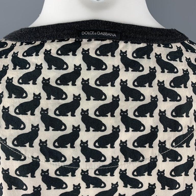DOLCE & GABBANA Size XS Black & Beige Cats Print Oversized Crew-Neck T-shirt For Sale 2