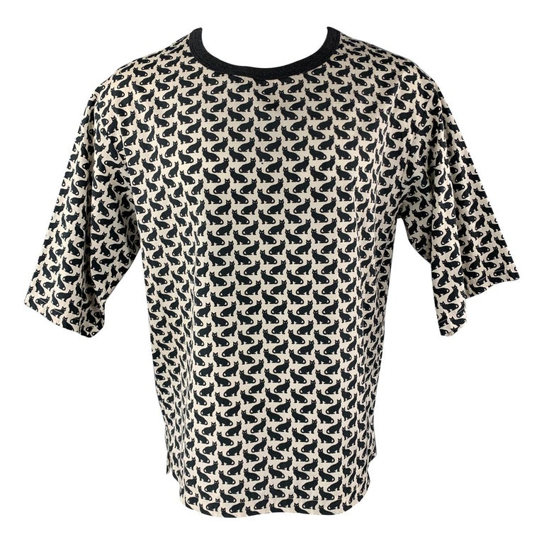 DOLCE & GABBANA Size XS Black & Beige Cats Print Oversized Crew-Neck T-shirt For Sale