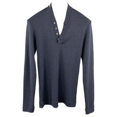 DOLCE & GABBANA Size XS Navy Wool / Silk Henley Pullover Sweater