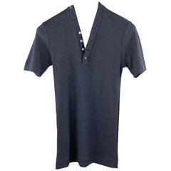DOLCE & GABBANA Size XS Navy Wool / Silk Short Sleeve Henley Pullover Sweater