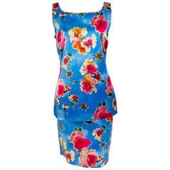 Dolce & Gabbana Sky Blue Photo Floral Silk Print Skirt Set