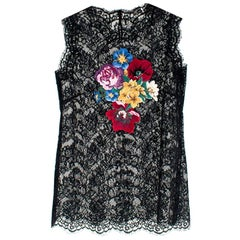 Dolce & Gabbana Sleeveless Floral Embroidered Black Lace Top M 10