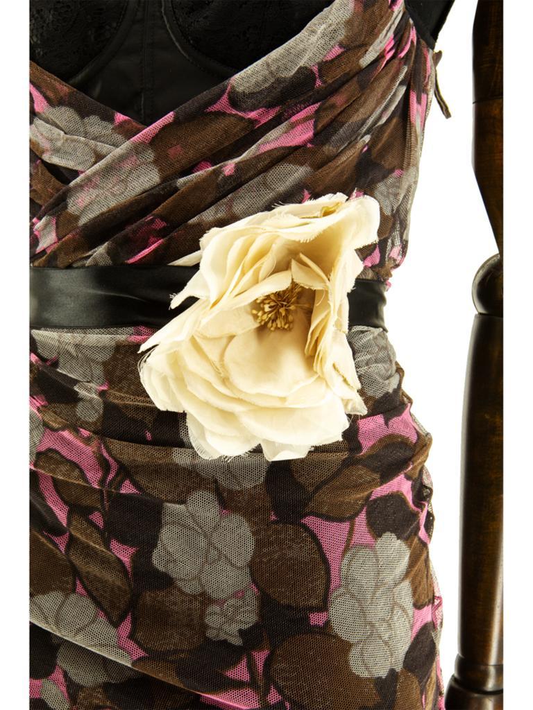 Black Dolce & Gabbana Spring 2004 Floral Tulle Ruched Dress For Sale