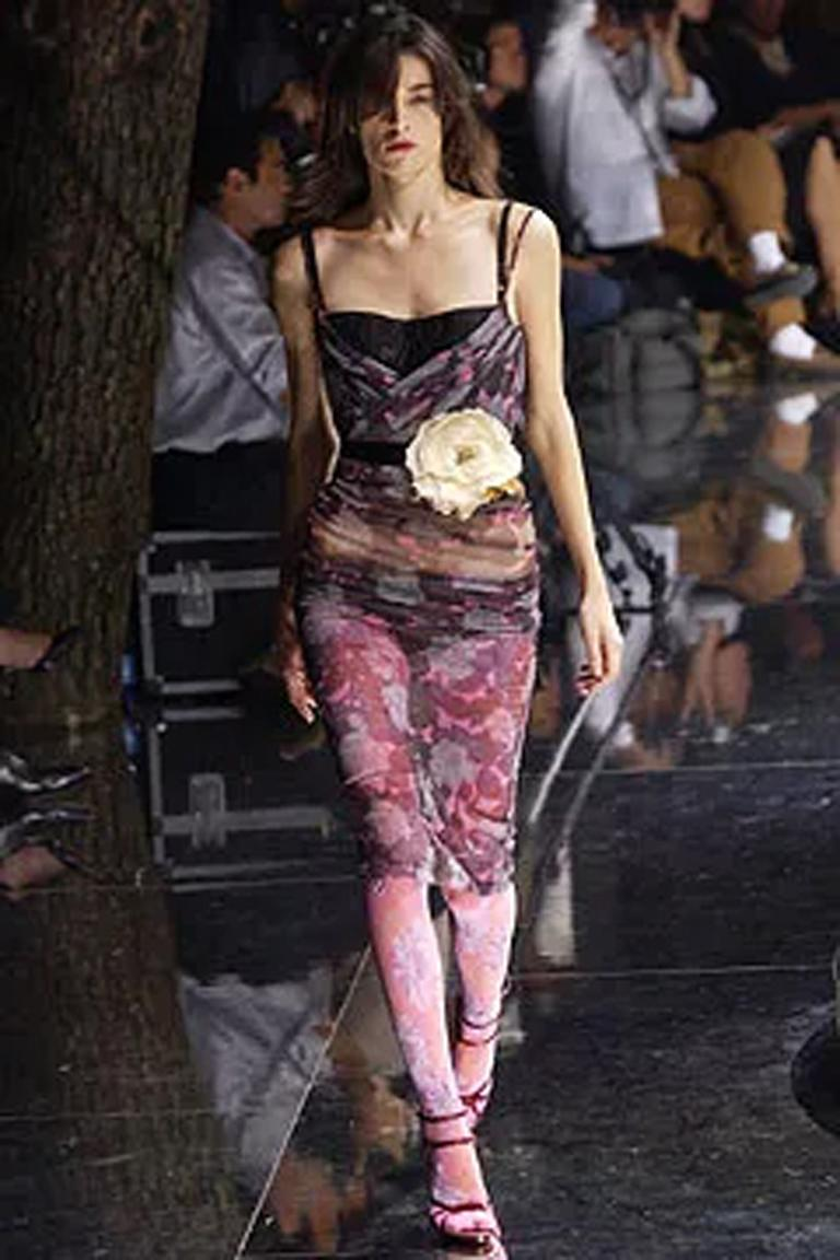 Dolce & Gabbana Spring 2004 Floral Tulle Ruched Dress For Sale 1