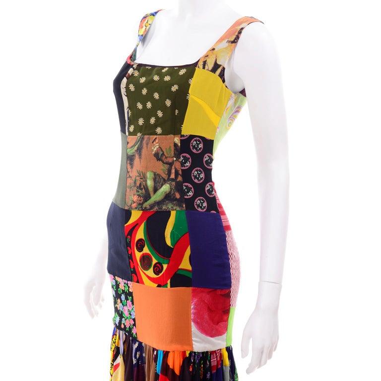 Dolce Gabbana Spring Summer 1993 Vintage Patchwork Silk 1970s Inspired Dress For Sale 5