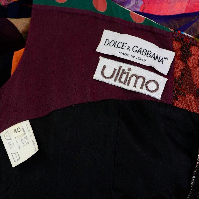 Dolce Gabbana Spring Summer 1993 Vintage Patchwork Silk 1970s Inspired Dress For Sale 6