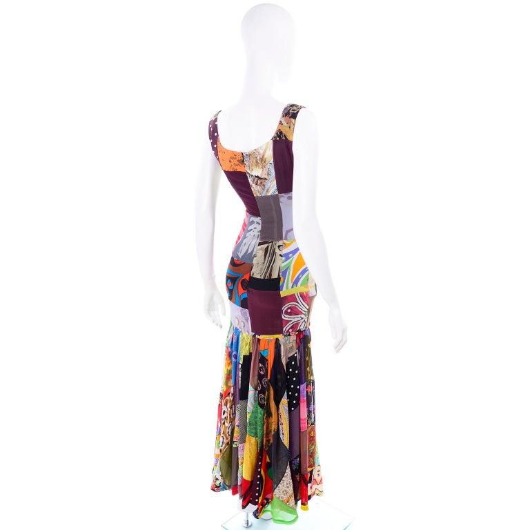 Black Dolce Gabbana Spring Summer 1993 Vintage Patchwork Silk 1970s Inspired Dress For Sale