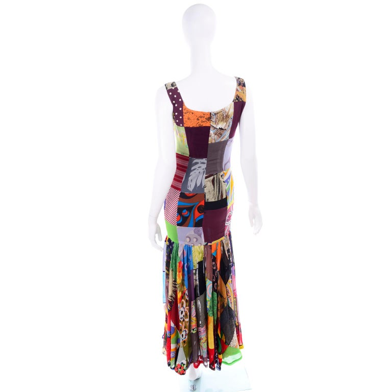 Dolce Gabbana Spring Summer 1993 Vintage Patchwork Silk 1970s Inspired Dress In Excellent Condition For Sale In Portland, OR