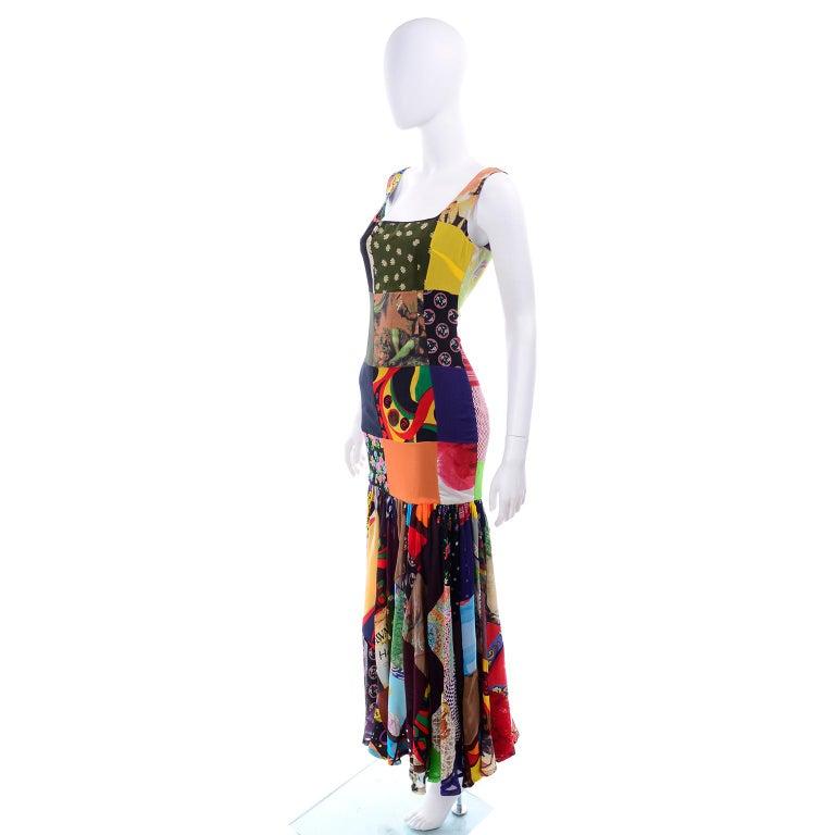 Women's Dolce Gabbana Spring Summer 1993 Vintage Patchwork Silk 1970s Inspired Dress For Sale
