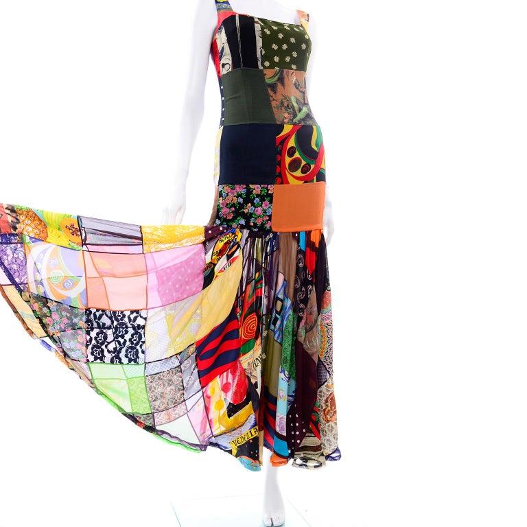 Dolce Gabbana Spring Summer 1993 Vintage Patchwork Silk 1970s Inspired Dress For Sale 1