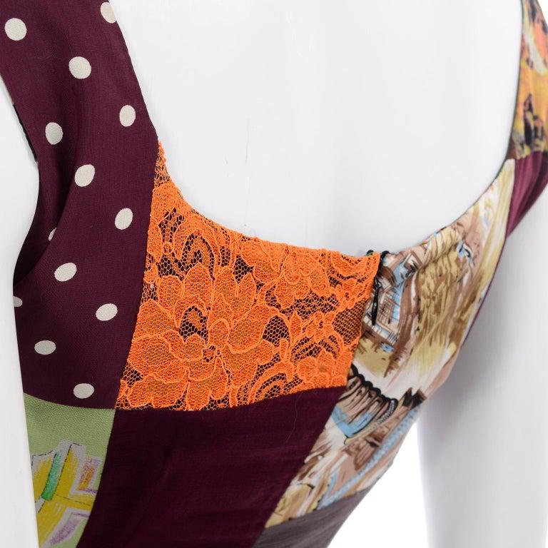Dolce Gabbana Spring Summer 1993 Vintage Patchwork Silk 1970s Inspired Dress For Sale 2