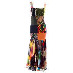 Dolce Gabbana Spring Summer 1993 Vintage Patchwork Silk 1970s Inspired Dress