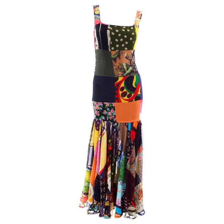 Dolce Gabbana Spring Summer 1993 Vintage Patchwork Silk 1970s Inspired Dress For Sale