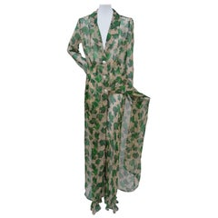 Dolce & Gabbana Spring-Summer 1997 Chiffon Dress With Pants  Foliage Print Mint