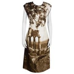 Dolce & Gabbana Spring'14 Digital Greek Temple Print Silk Dress M