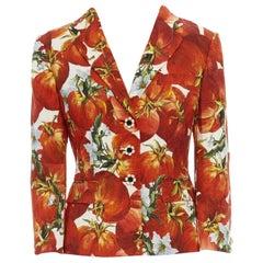 DOLCE GABBANA SS12 red tomato brocade floral strass button blazer jacket IT40 S