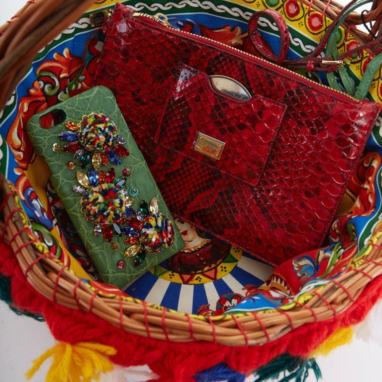 DOLCE GABBANA SS16 red pom pom embellished wicker basket pouch iphone case bag For Sale 6