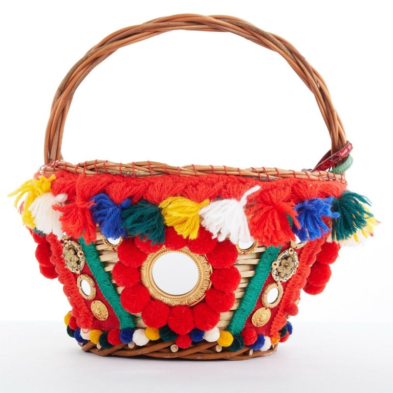 Women's DOLCE GABBANA SS16 red pom pom embellished wicker basket pouch iphone case bag For Sale
