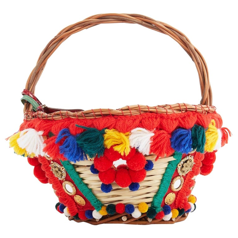 DOLCE GABBANA SS16 red pom pom embellished wicker basket pouch iphone case bag For Sale