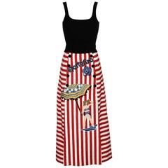 Dolce & Gabbana Striped Stretch Cotton Portofino Skirt