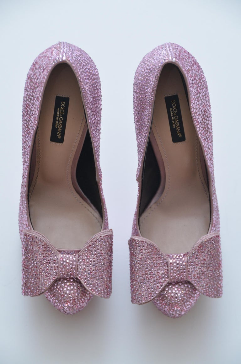 Dolce & Gabbana Swarovski Pink Strass  Embelished Shoes   Size  37   NEW with original box.  Please know your sizing in this designer since this is FINAL SALE.  FINAL SALE.