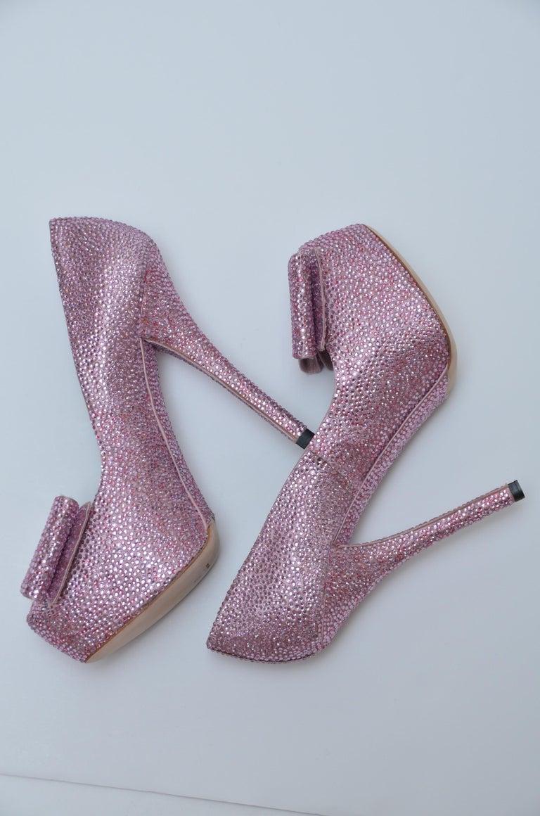 Brown Dolce & Gabbana Swarovski Pink Strass Embellished Shoes 37 NEW   For Sale