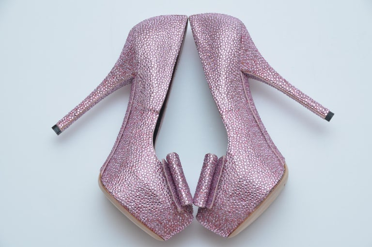 Dolce & Gabbana Swarovski Pink Strass Embellished Shoes 37 NEW   In New Condition For Sale In Hollywood, FL