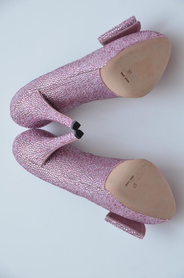 Women's Dolce & Gabbana Swarovski Pink Strass Embellished Shoes 37 NEW   For Sale