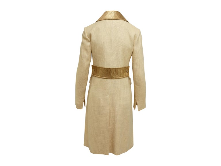 Dolce & Gabbana Tan & Gold Long Coat In Good Condition For Sale In New York, NY