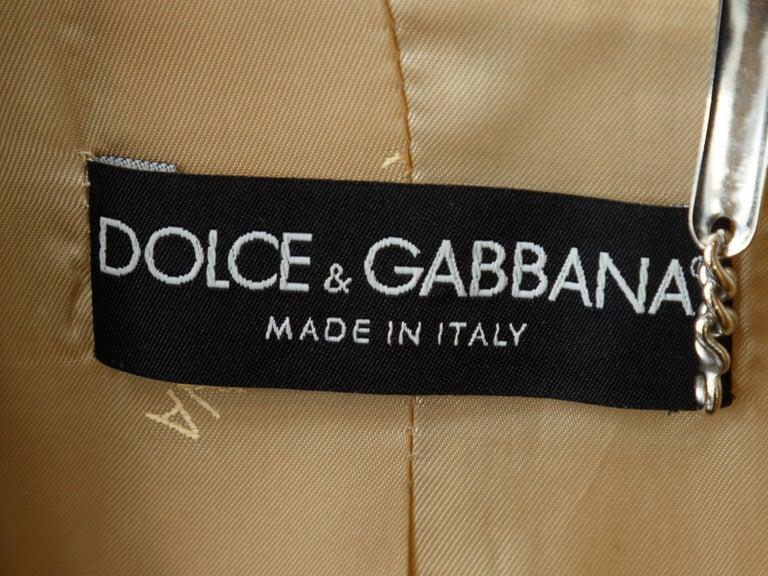 Women's Dolce & Gabbana Tan & Gold Long Coat For Sale
