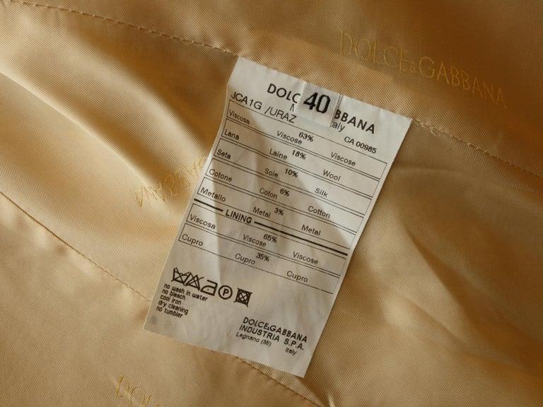 Dolce & Gabbana Tan & Gold Long Coat For Sale 1