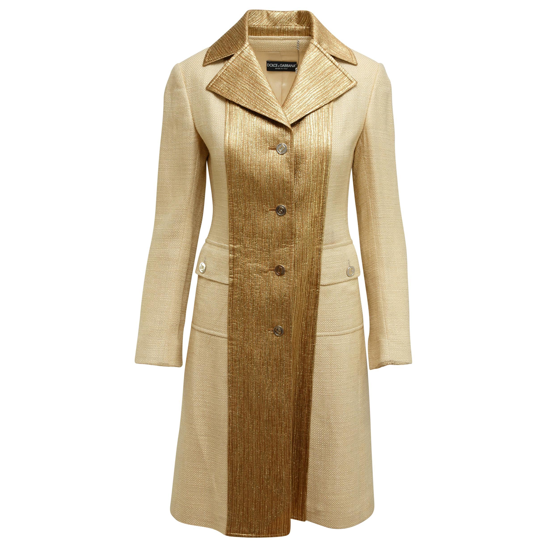 Dolce & Gabbana Tan & Gold Long Coat