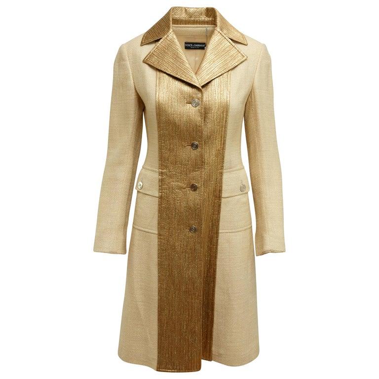 Dolce & Gabbana Tan & Gold Long Coat For Sale