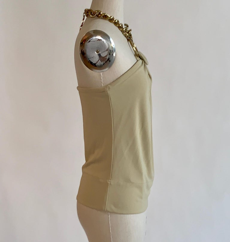 Brown Dolce & Gabbana Tan Halter Top with Chunky Gold Chain Detail For Sale