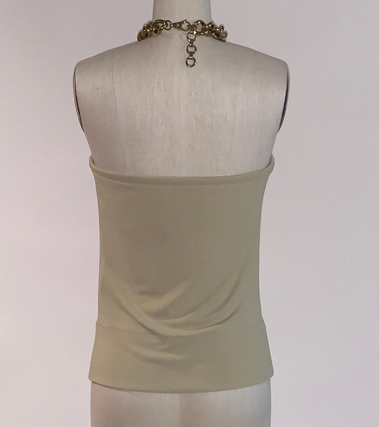 Dolce & Gabbana Tan Halter Top with Chunky Gold Chain Detail In Good Condition For Sale In San Francisco, CA