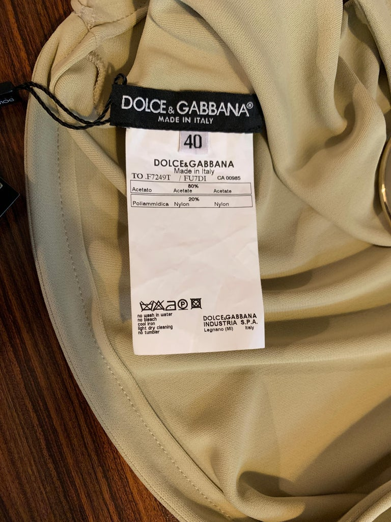 Dolce & Gabbana Tan Halter Top with Chunky Gold Chain Detail For Sale 3