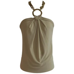 Dolce & Gabbana Tan Halter Top with Chunky Gold Chain Detail