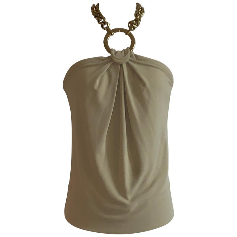 Dolce & Gabbana Tan Halter Top with Chunky Gold Chain Detail For Sale