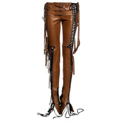 Dolce & Gabbana tan lace up leather pants, ss 2003